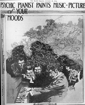 Cover of The World magazine of Jan. 18, 1914 featuring Francis Grierson as Psychic Pianist. Public Domain over at <a href='http://commons.wikimedia.org/wiki/File:Psychic_pianist.jpg'>Wikimedia Commons</a>