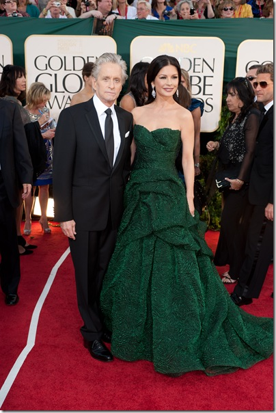"Nominated for BEST PERFORMANCE BY AN ACTOR IN A SUPPORTING ROLE IN A MOTION PICTURE for his role in ""Wall Street: Money Never Sleeps,"" actor Michael Douglas and wife, Catherine Zeta-Jones, attend the 68th Annual Golden Globes Awards at the Beverly Hilton in Beverly Hills, CA on Sunday, January 16, 2011."