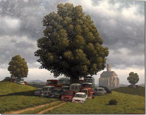 autos bajo el arbol