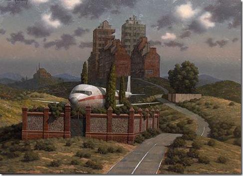 avion en el jardin