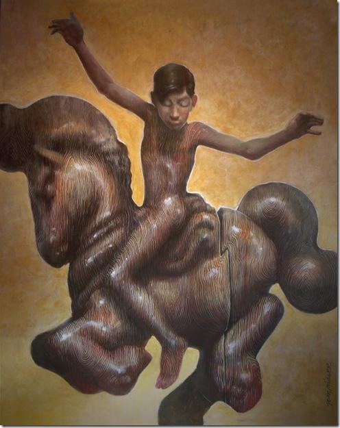 pintura crucifixion en caballito de madera en b