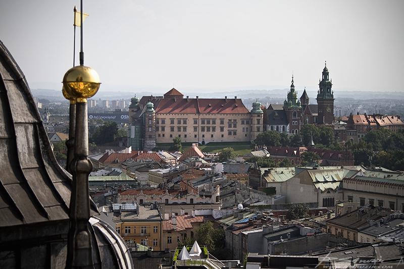 Kraków, widok na Wzgórze Wawelskie. Złocone zwieńczenie wież Kościoła Mariackiego ze Starówką, Zamkiem Wawelskim, zimnym Lechem i Kościołem NMP w tle.
