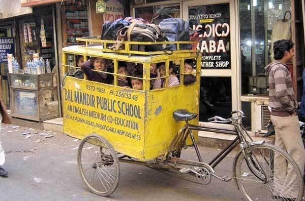 Photos that need no words to laugh - School in a cycle cab