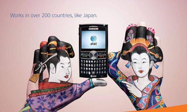 23 creative ads by AT&T [hand-modelling advertisements] - Japanese geisha girls