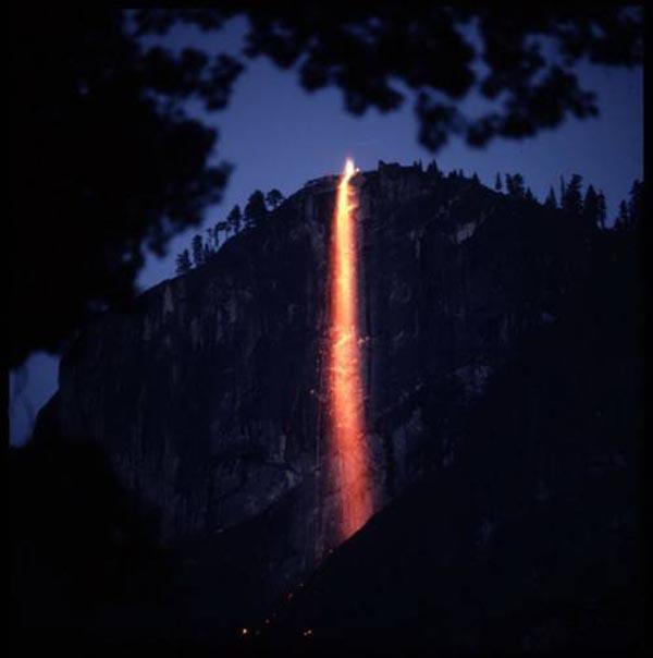 Yosemite waterfall on fire, at dusk