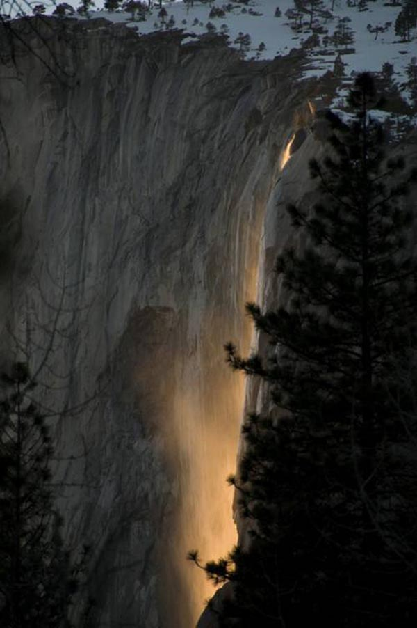 Yosemite fire waterfall