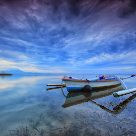 The Blue by Sunan Tara - Transportation Boats ( water, waterscape, sunset, cloud, beach, transportation, sunrise, landscape, boat )