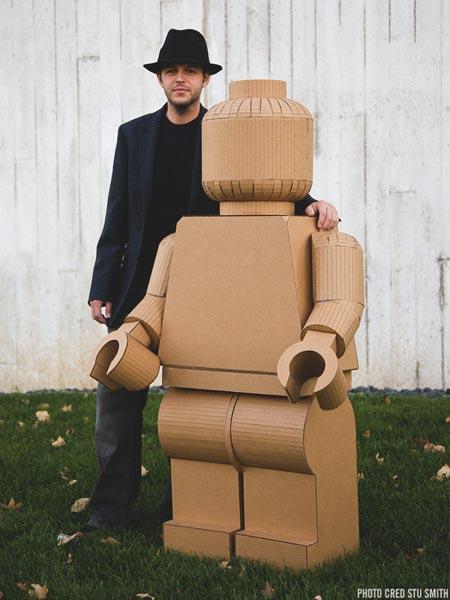cardboard life-sized LEGO minifig