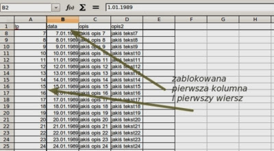 Jednoczesne blokowanie wiersza i kolumny w arkuszu kalkulacyjnym typu Excel Open office Calc