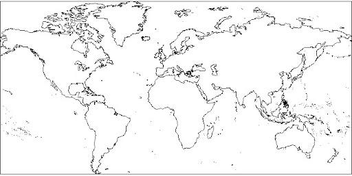 Planisferio politico con nombres blanco y negro - Imagui