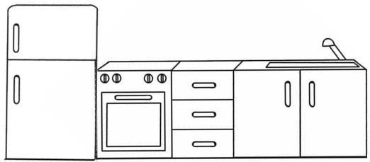 Dibujos de muebles para colorear for Dibujos de cocina