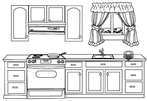 Dibujo cocina para colorear imagui for Dibujos para cocinas integrales