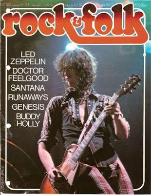 Jimy Page en couverture de Rock & Folk en 1977