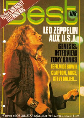 Robert Plant en couverture de Best en 1977