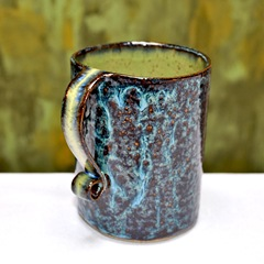 extra large 28-ounce stoneware Blue and Green coffee mug 3