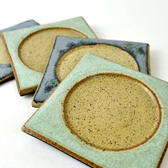 Blue Green handmade Zehava coasters by glazedOver Pottery 4