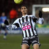 20080216 - MONS, BELGIUM: Charleroi's Mohamed Chakouri heads for the ball during the Belgian first division soccer match Mons vs Charleroi, Saturday 16 February 2008, 22nd day of the Jupiler League championship. The match ended 0-all draw. BELGA PHOTO VIRGINIE LEFOUR