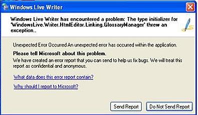 livewriter error