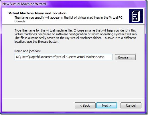 4Virtual Machine Name and Location