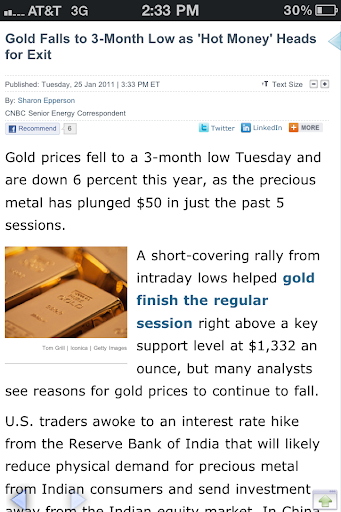 Gold at three month lows