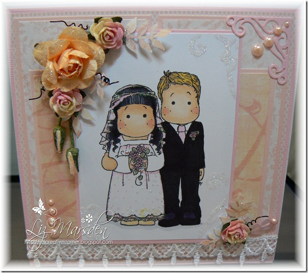 Colour create DT wedding card with fancy border