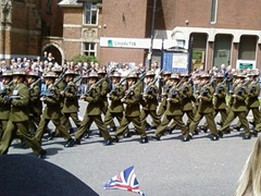 Gurkha soldiers marching past