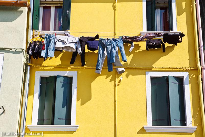 Италия, остров Бурано, сушка белья | Venezia, Burano, Italy | Benatky, Italie