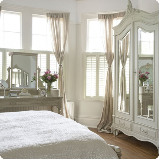 White bright airy bedroom bay window sheer curtains bed armoire wardrobe real home CH&I 03/2008 pub orig