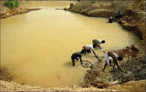 A extração de diamantes na África