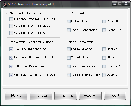 Download AT4RE Password Recovery besplatni program za Windows