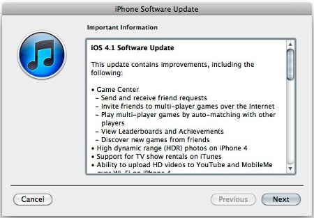 download update iOS 4.1