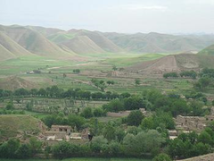 Village with pistachio trees in Afghanistan's Badghis province. (Photo by Koldo Hormaza)