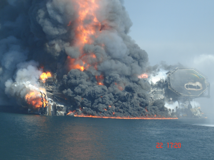 The BP Deepwater Horizon oil platform moments before sinking in the Gulf of Mexico. Gulf Oil Spill Picture Gallery: The Last Four Minutes of the Deepwater Horizon. via industry.bnet.com
