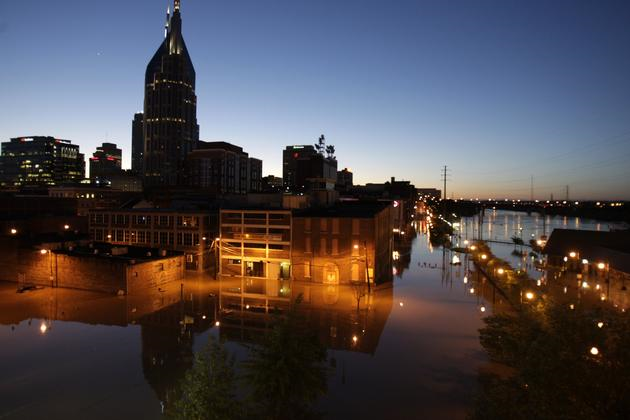 Floodwater from the Cumberland River creeps into downtown Nashville, Tenn., Monday, May 3, 2010. Heavy weekend rain caused the Cumberland River, which winds through Nashville, to overflow its banks flooding part of downtown and other areas around the city. (AP Photo / Jeff Roberson)