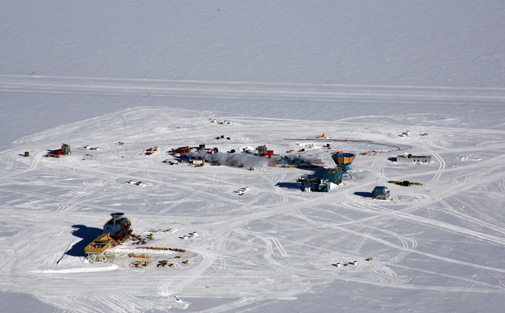 Telescopes used for research at the South Pole. (NSF / USAP photo by Scot Jackson, Raytheon Polar Services Company.)