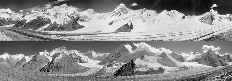 West Rongbuk Glacier, 1921 and 2008. At 29,028 feet, Mount Everest is the world's tallest mountain. Three major glaciers on the northern side of the mountain, the West, Main, and East Rongbuk Glaciers, have shrunk by 300-400 vertical feet along their entire course, and are retreating at an alarming rate.