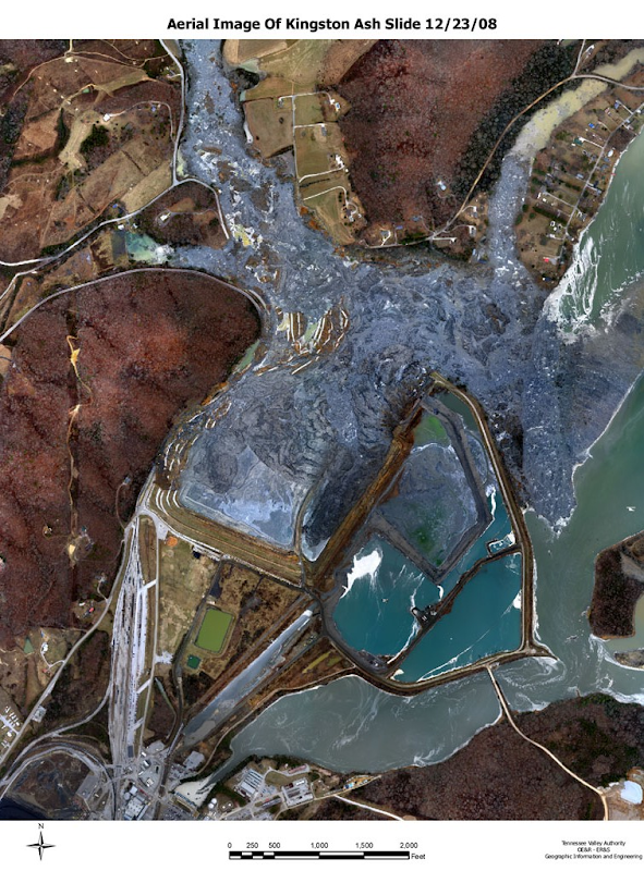 Aerial image of Kingston ash slide, 23 Dec 2008. TVA