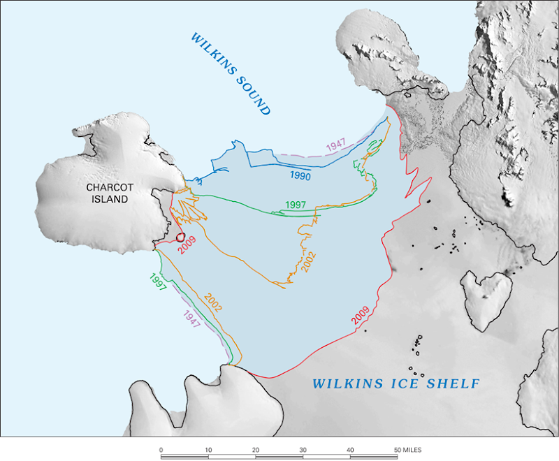 Ice-shelf Retreat in the Southern Antarctic Peninsula, 1947-2009. U.S. Geological Survey
