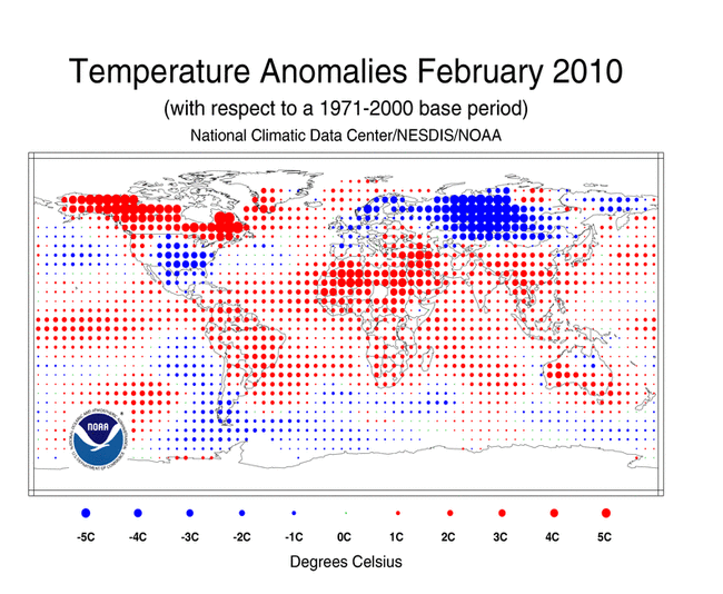 Temperature anomalies for February 2010 and December 2009 - February 2010 are shown on the dot map, which is a product of a merged land surface and sea surface temperature (SST) anomaly analysis developed by Smith et al. (2008). For the merged land surface and SST analysis, temperature anomalies with respect to the 1971-2000 average for land and ocean are analyzed separately and then merged to form the global analysis. NCDC / NESDIS / NOAA