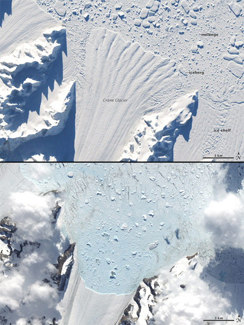 Retreat of Crane Glacier after collapse of the Larsen B ice shelf, Antarctica. NASA images by Robert Simmon based on Landsat-7 data.