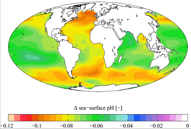 Estimated change in annual mean sea surface pH between the pre-industrial period (1700s) and the present day (1990s). ΔpH here is in standard pH units. Calculated from fields of dissolved inorganic carbon and alkalinity from the Global Ocean Data Analysis Project climatology and temperature and salinity from the World Ocean Atlas (2005) climatology using Richard Zeebe's csys package. Plumbago, 28 April 2009, via Wikimedia