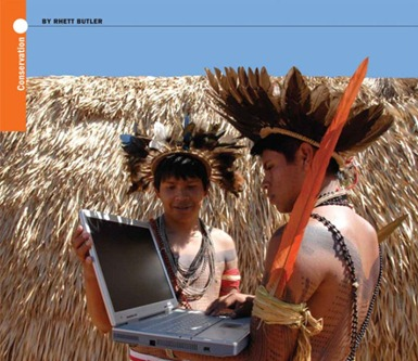 An indigenous team gathers GPS data on a mapping expedition in the Amazon. Rhett Butler
