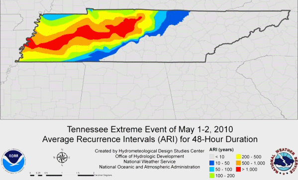 Tennessee Extreme Event of May 1-2, 2010 Average Recurrence Intervals (ARI) for 48-Hour Duration. National Weather Service