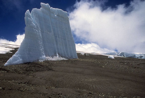 An isolated remnant of an ice spire in the crater of Mount Kilimanjaro in Tanzania.  (Lonnie Thompson, Ohio State University)