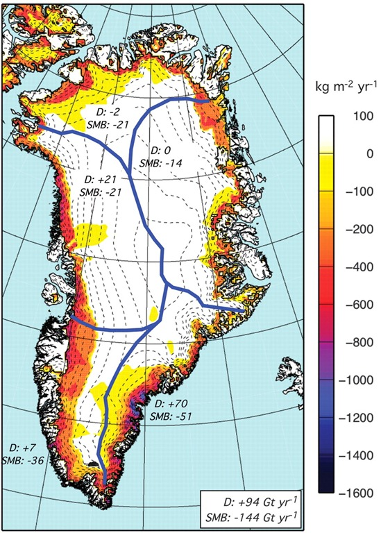 Changes in Greenland Ice Sheet Mass Distribution, 2003-2008. van den Broeke, et al., 2009
