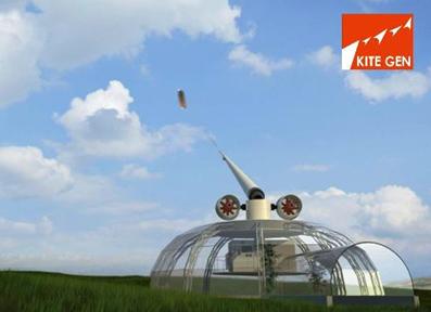 Illustration of Kitegen airborne wind energy system. kitegen.com