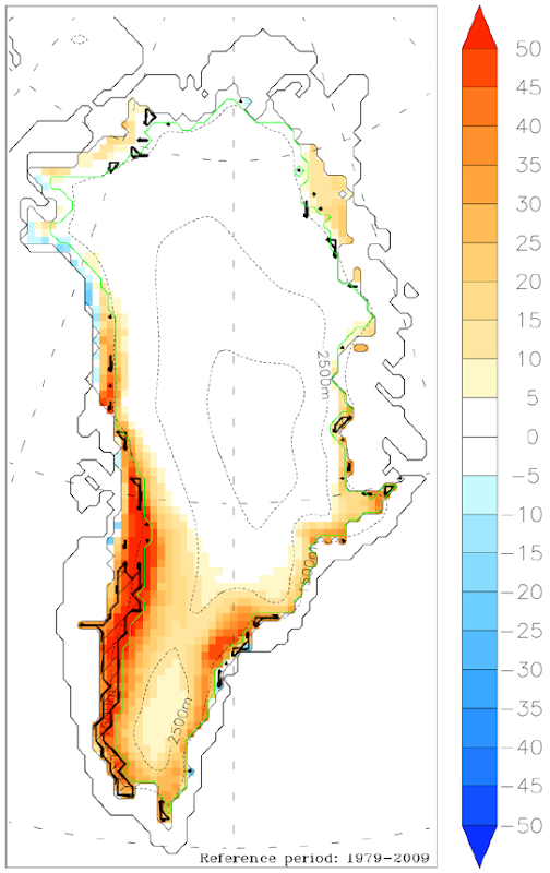 Anomaly map of Greenland melting days for 2010 derived from passive microwave data. Hatched regions indicate where MAR-simulated meltwater production exceeds the mean by at least two standard deviations. M. Tedesco, et al., 2010