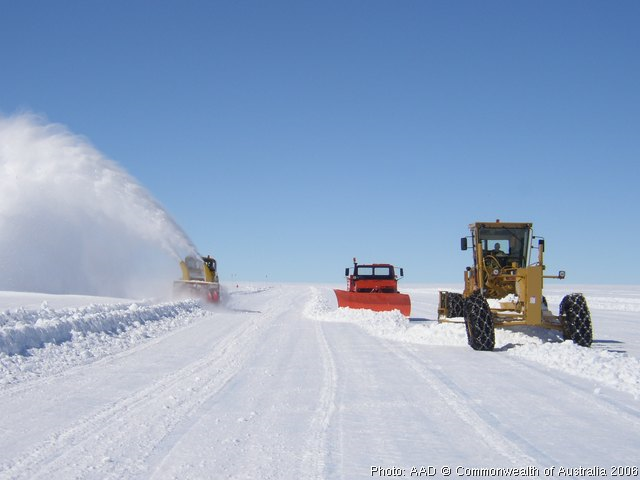 Wilkins Runway construction in Antarctica. AAD / antarctica.gov.au