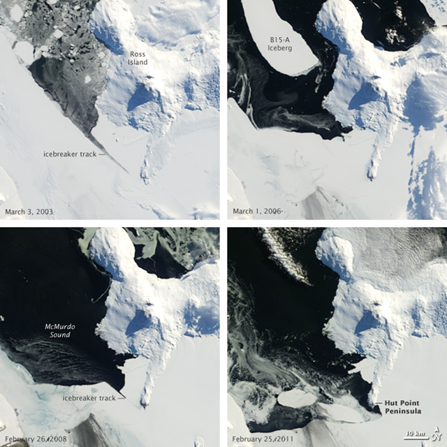 Retreat of sea ice in McMurdo Sound, Antarctica, 2003-2011. NASA Earth Observatory images created by Jesse Allen, using data obtained from the Goddard Level 1 and Atmospheric Archive and Distribution System (LAADS).