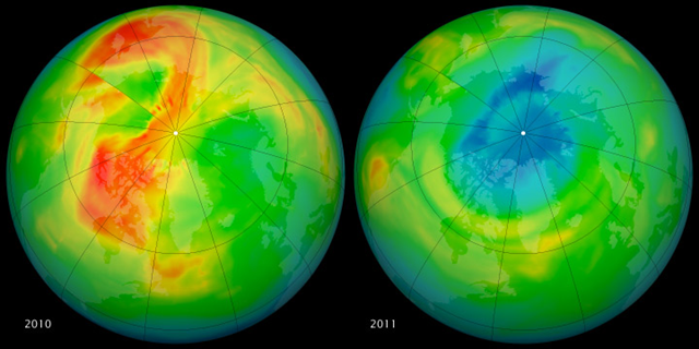 These maps of ozone concentrations over the Arctic come from the Ozone Monitoring Instrument (OMI) on NASA's Aura satellite. The left image shows March 19, 2010, and the right shows the same date in 2011. March 2010 had relatively high ozone, while March 2011 has low levels. NASA image by Rob Simmon, with data courtesy of Ozone Hole Watch